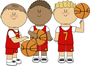 clip art of three student basketball players