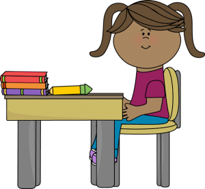 Drawing of a girl at a desk