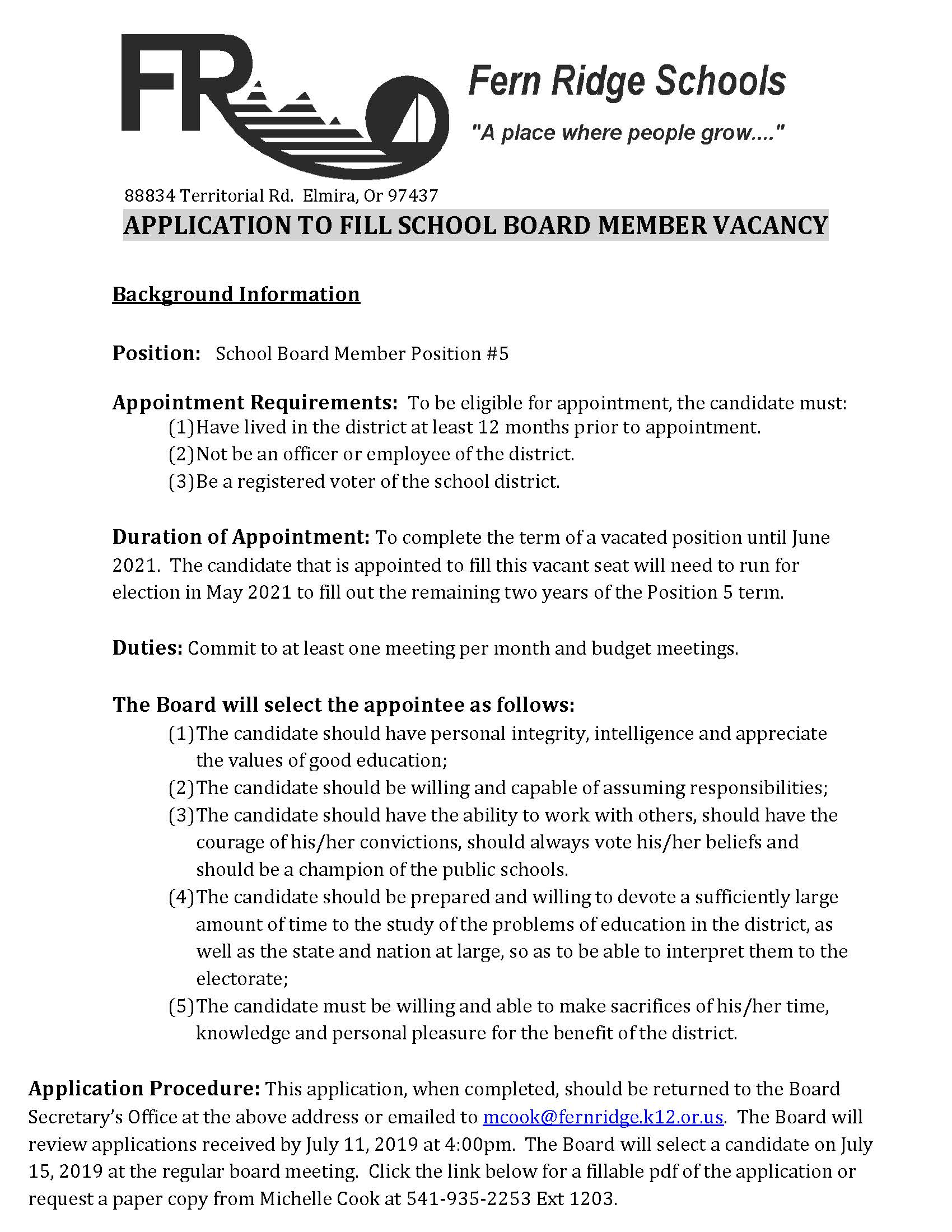School Board Vacancy Information